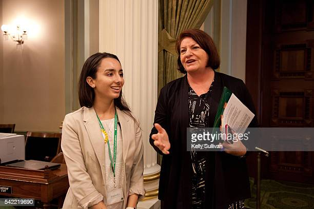 Gold Award recipient Isabella Pena of Girl Scouts of San Gorgonio chats with Speaker Emeritus Toni Atkins at the California State Capitol on June 22...