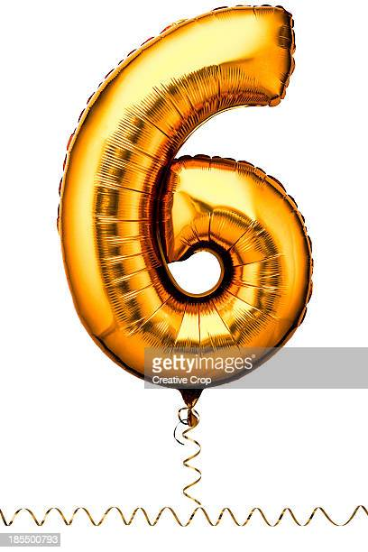 gold balloon in the shape of a number six - free six photo stock photos and pictures
