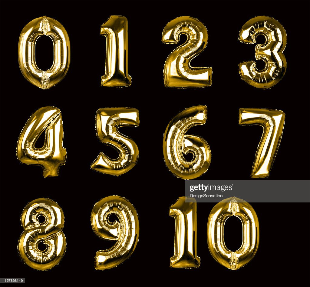 Gold Balloon Numbers 1-10 (+clipping paths, XXL) : Stock Photo
