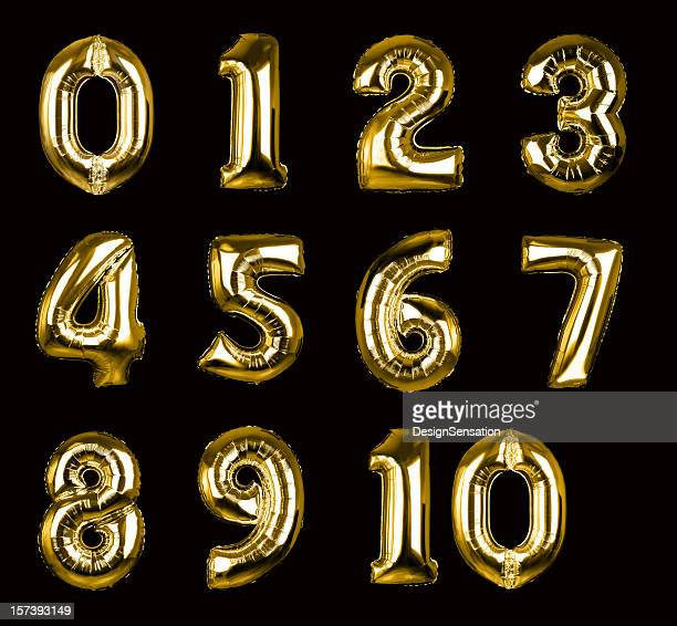 gold balloon numbers 1-10 (+clipping paths, xxl) - number 2 stock pictures, royalty-free photos & images