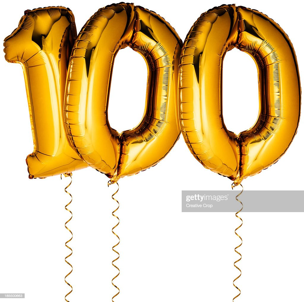 gold balloons in the shape of a number 100 stock foto getty images. Black Bedroom Furniture Sets. Home Design Ideas