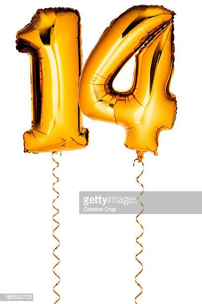 gold balloons in the shape of a number 14 - number 14 stock photos and pictures