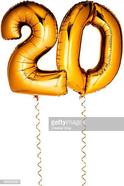 gold balloons in the shape of a number 20 - number 20 stock pictures, royalty-free photos & images