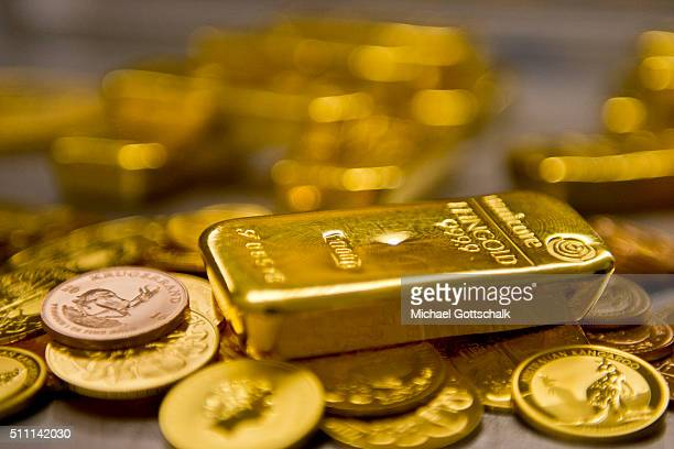 Gold bar and Gold Coins in the safe of Pro Aurum Gold trading house on February 16 2016 in Muenchen Germany