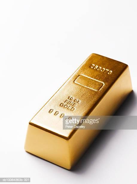 Gold bar on white background