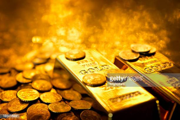 gold bars and coins - gold coloured stock pictures, royalty-free photos & images
