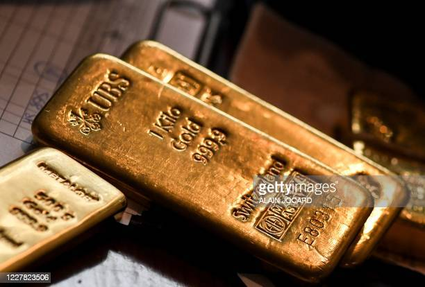 Gold bars are pictured at the Godot and sons gold buyer store on July 29, 2020 in Paris.