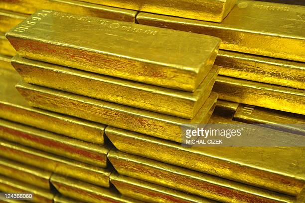 Gold bars are seen at the Czech Central Bank on September 05 2011 in Prague AFP PHOTO/ MICHAL CIZEK