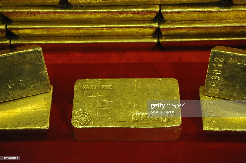 Gold bars are seen at the Czech Central Bank on September 05, 2011 in Prague.
