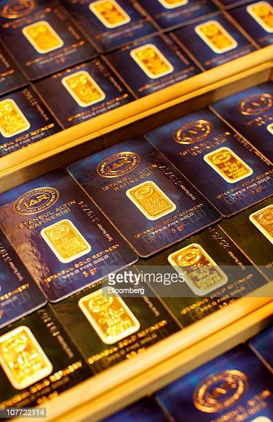 Gold bars are seen for sale in a jewelry shop in the Grand Bazaar's gold souk in Istanbul Turkey on Friday Nov 12 2010 The rising value of bullion...