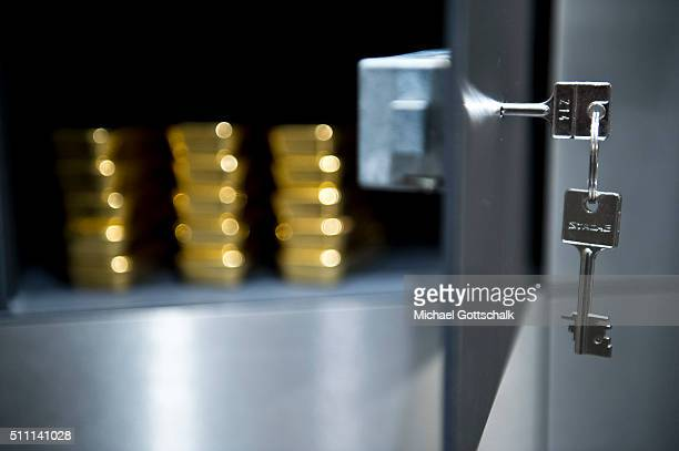 Gold bars in a locker in the safe of Pro Aurum Gold trading house on February 16 2016 in Muenchen Germany