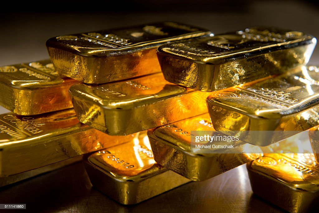 Gold bars in the safe of Pro Aurum Gold trading house on February 16, 2016 in Muenchen, Germany.