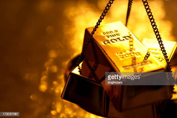 Gold bars on weight scale