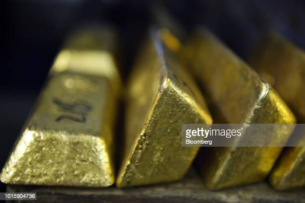 Gold bars sit in a vault at the Perth Mint Refinery operated by Gold Corp in Perth Australia on Thursday Aug 9 2018 Demand for coins and minted bars...