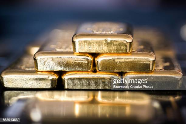 Gold bars sit stacked in Hungary