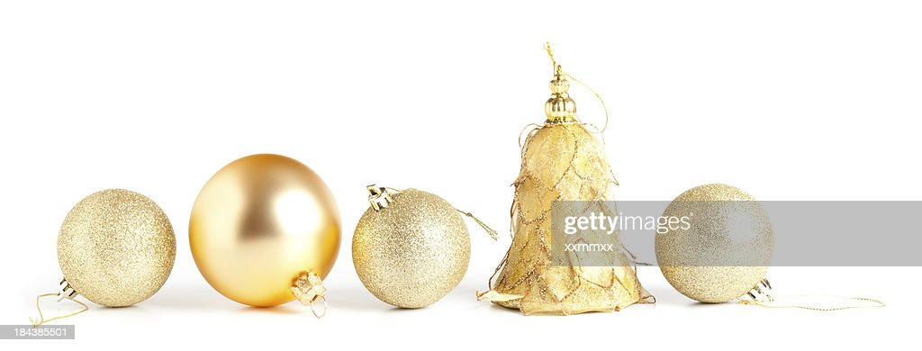 Gold baubles : Stock Photo