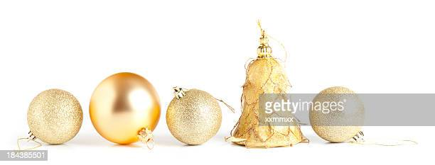 gold baubles - christmas ornaments stock photos and pictures