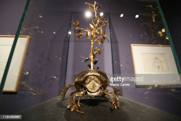 A gold beetle by the artist Jan Fabre in the Red Gold exhibition in the Capodimonte museum in Naples
