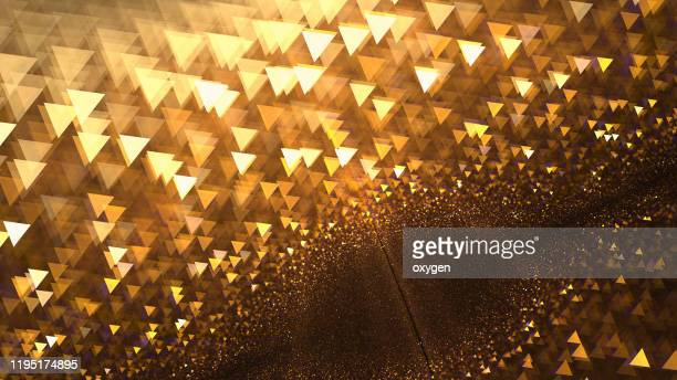 gold bokeh triangle shapes abstract sparklers golden fractal christmas blurred background - lightweight stock pictures, royalty-free photos & images