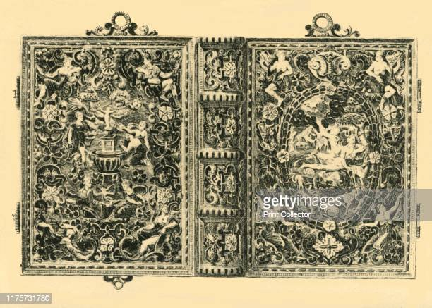 Gold book cover 19th century Etching of an embossed and enamelled book cover made in Europe probably in the 19th century The front depicts the...