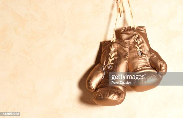 Gold boxing gloves hanging with copy space