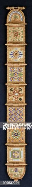 Gold bracelet ca 1900 in cloisonne enamel beads and vitreous paste by Giacinto Melillo Italy 20th century
