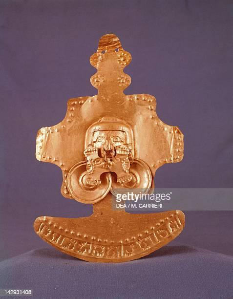 Gold breastplate originating from Calima PreColombian Calima Civilization 10th Century Bogotá Museo Del Oro