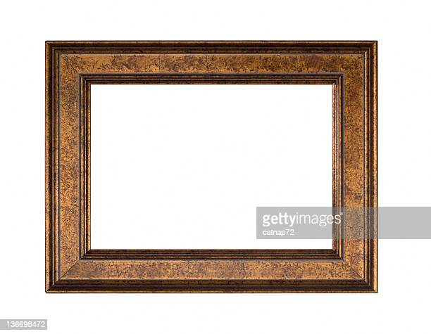 gold bronze picture frame, white isolated - bronze colored stock pictures, royalty-free photos & images