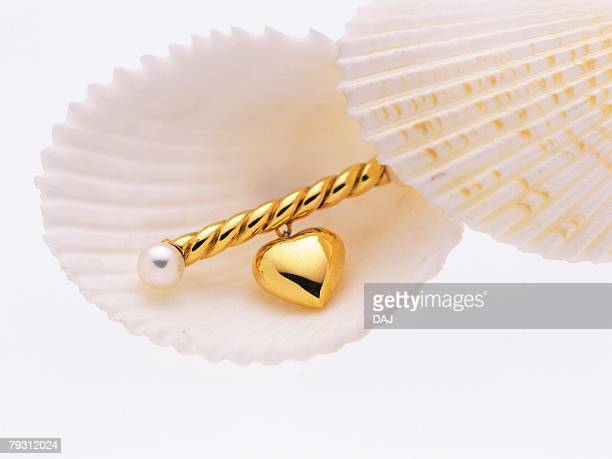 Gold brooch on scallop shell, high angle view, white background
