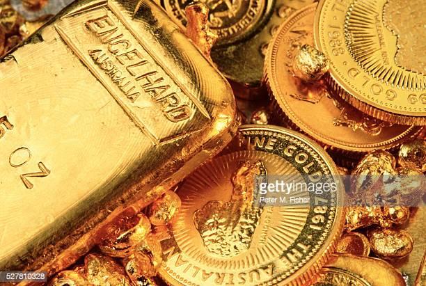 Gold bullion and Australian coins