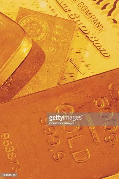Gold bullion and financial document