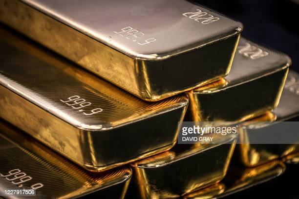 TOPSHOT Gold bullion bars are pictured after being inspected and polished at the ABC Refinery in Sydney on August 5 2020 Gold prices hit 2000 USD an...