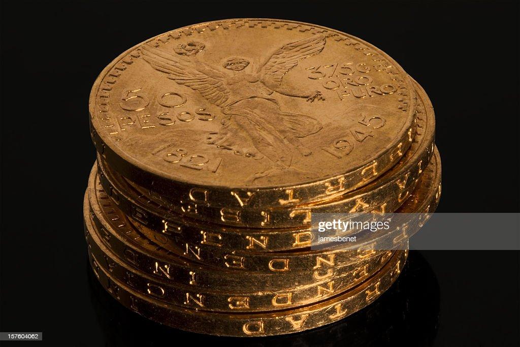 Gold Bullion Coin Stack : Stock Photo