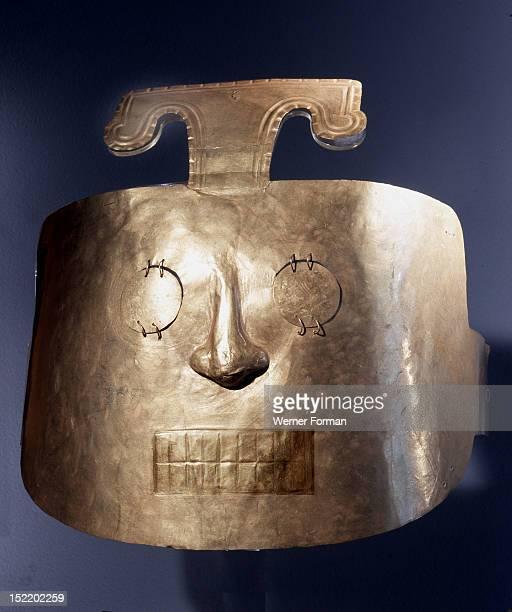 Gold burial mask from a Nazca mummy bundle, Peru. Nazca. Late period 500 800 AD. South coastal Peru.