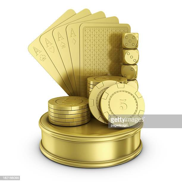gold cards, chips and dices - gambling award