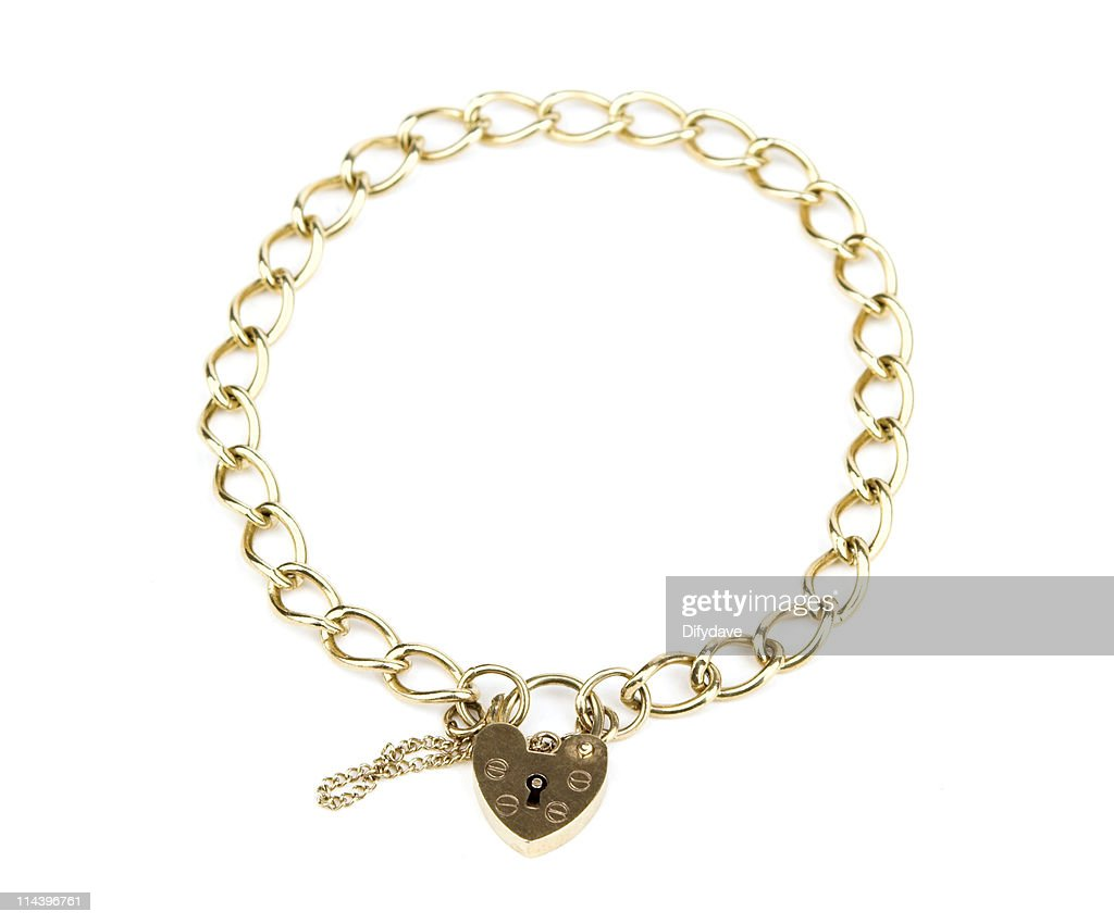 Gold Chain Bracelet With Heart Shaped Padlock Clasp Stock Photo ...