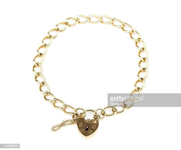 Gold Chain Bracelet With Heart Shaped Padlock Clasp