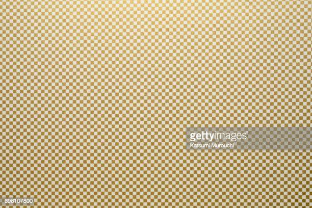 Gold checkboard washi paper texture background
