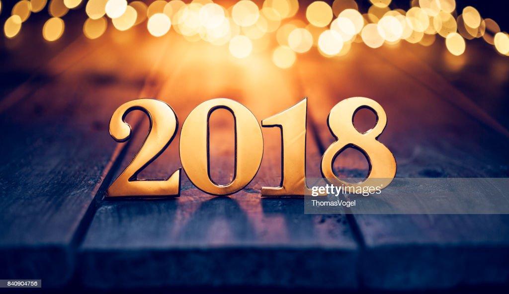 Gold Christmas 2018 - Lights Wood New Year : Stock Photo