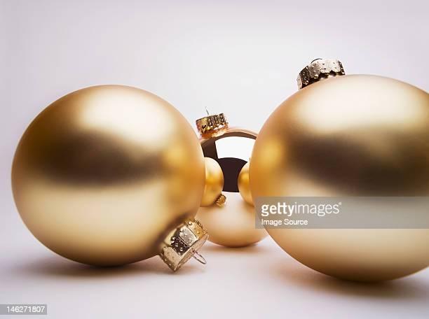 Gold Christmas decorations, studio shot