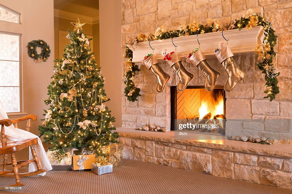 Gold Christmas Morning Tree Gifts Fireplace Stockings