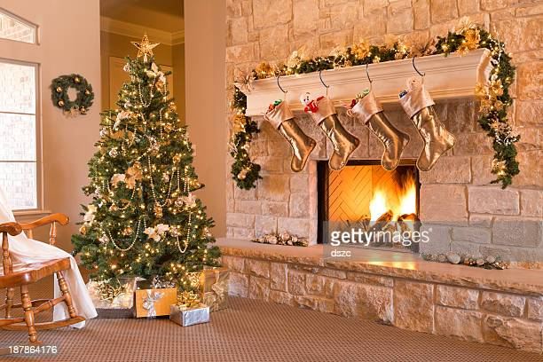 Gold Christmas: morning, tree, gifts, fireplace, stockings, mantel, hearth, wreath