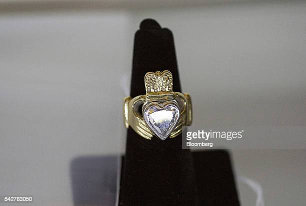 A gold claddagh ring belonging to notorious Boston mobster James 'Whitey' Bulger is displayed during a press preview before an assetforfeiture...