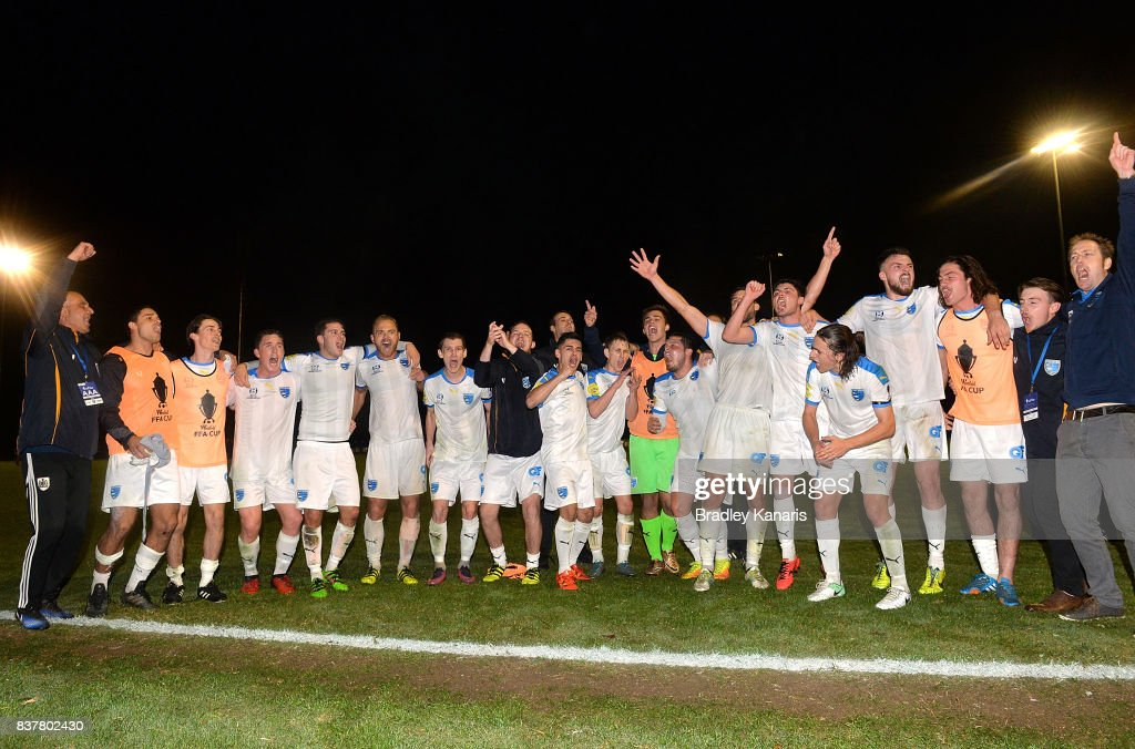 Gold Coast City celebrate their victory after the FFA Cup round of 16 match between Moreton Bay United and Gold Coast City at Wolter Park on August 23, 2017 in Brisbane, Australia.