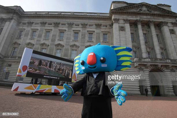 Gold Coast Commonwealth Games mascot Borobi arrives on the forecourt of Buckingham Palace ahead of the launch of The Queen's Baton Relay for the XXI...