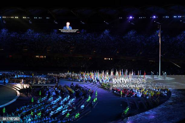 Gold Coast Commonwealth Games Organising Committee Chairman Peter Beattie is seen on the big screen during the opening ceremony of the 2018 Gold...