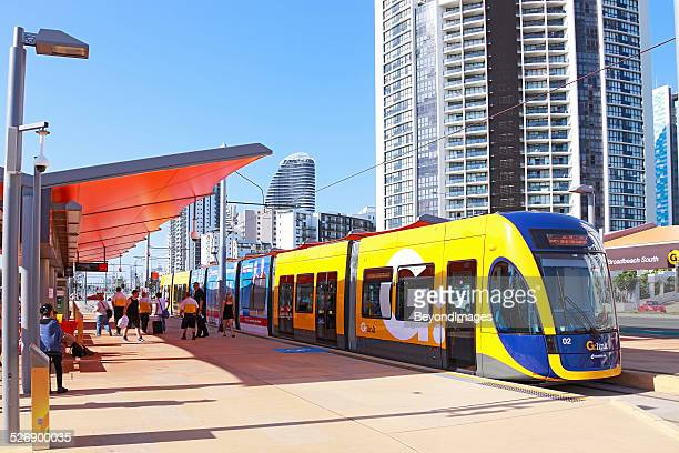 gold coast light rail (g:link) service at terminus - gold coast queensland stock pictures, royalty-free photos & images