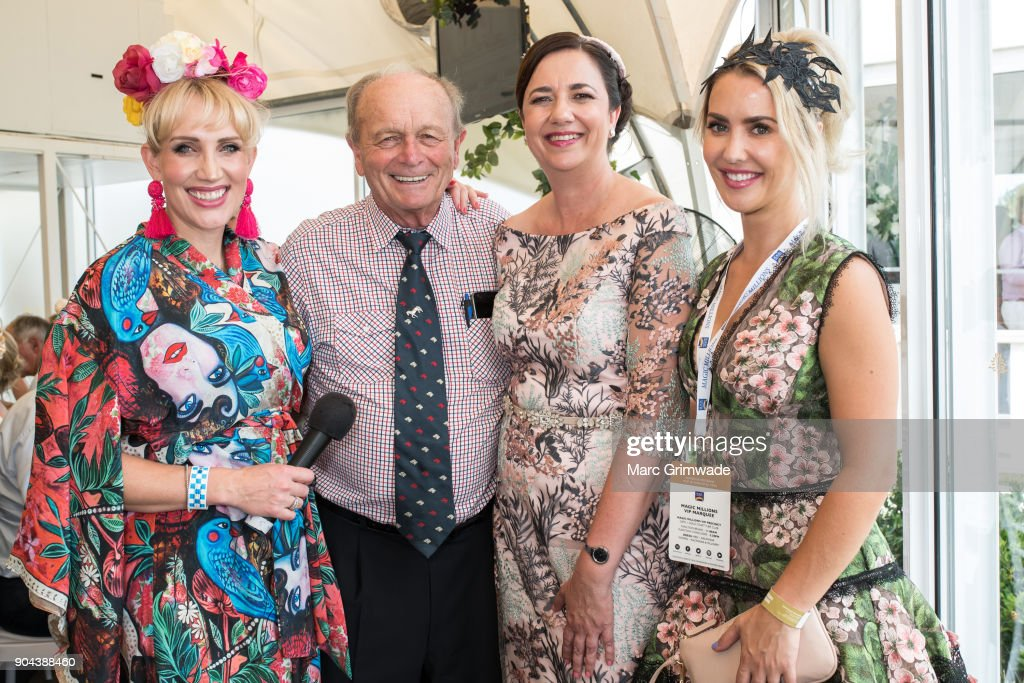 Gold Coast radio identity Emily Jade, Gerry Harvey, Premier of Qld Anastasia Palaszczuk and Brisbane radio identity Abby Coleman attend Magic Millions Raceday on January 13, 2018 in Gold Coast, Australia.