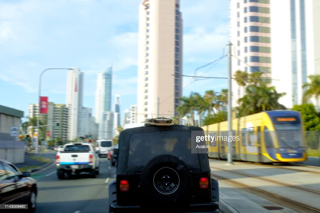 Gold Coast Rush hour traffic in Surfers Paradise Gold Coast.Analysis of car ownership in 2016 indicates 53% of households in Gold Coast City had access to two or more motor vehicles : News Photo