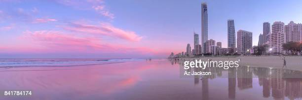 Gold Coast skyline at sunset reflecting off the water